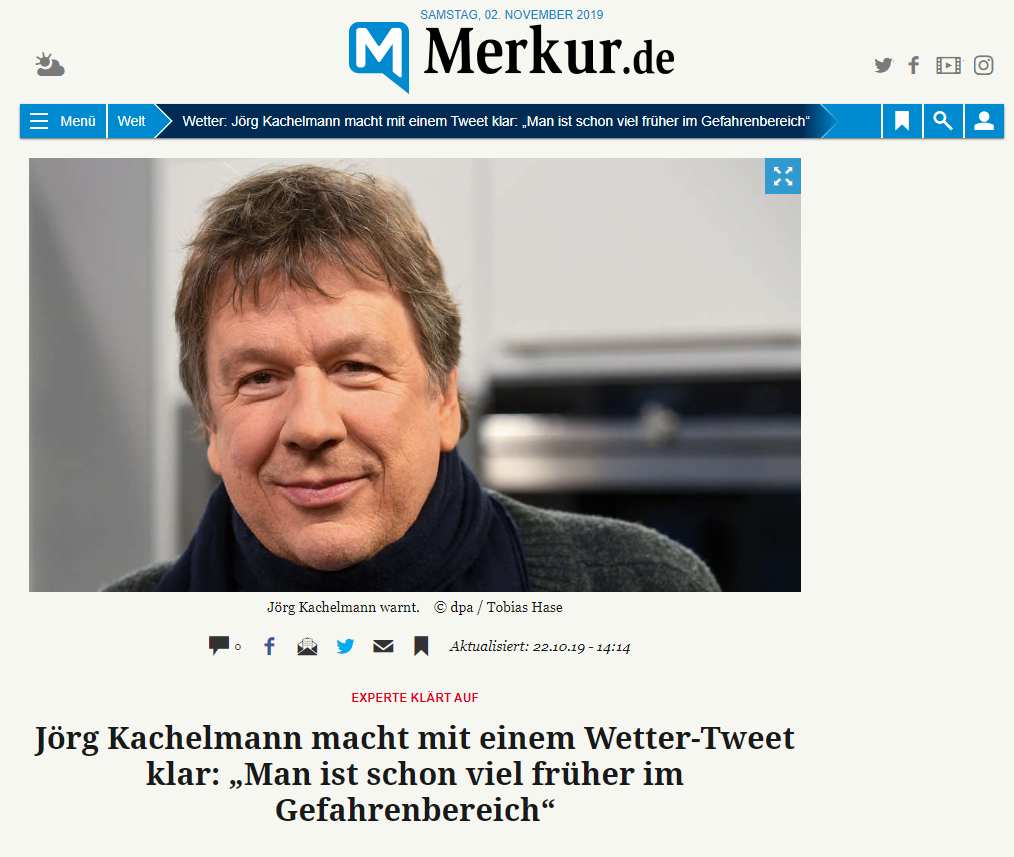 Merkur - Jörg Kachelmann macht mit einem Wetter-Tweet klar: