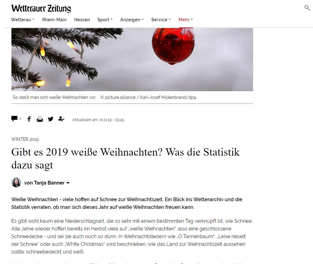 Wetterauer Zeitung - Weihnachten Statistik