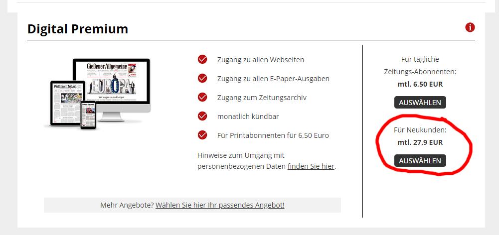 Wetterauer Zeitung Digital Premium 27,90€/Monat