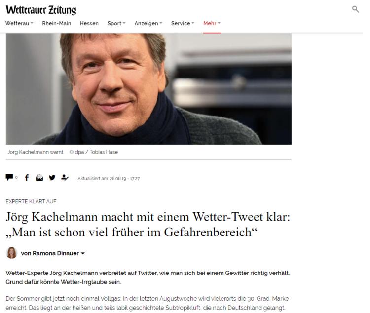 Wetterauer Zeitung - Jörg Kachelmann macht mit einem Wetter-Tweet klar
