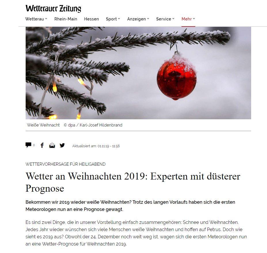 Wetter an Weihnachten 2019: Experten mit düsterer Prognose