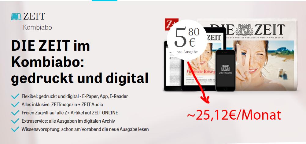 DIE ZEIT Kombiabo für umgerechnet rund 25,12€/Monat